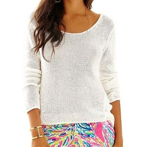 Lilly Pulitzer White Amory High Low Sweater Sz L